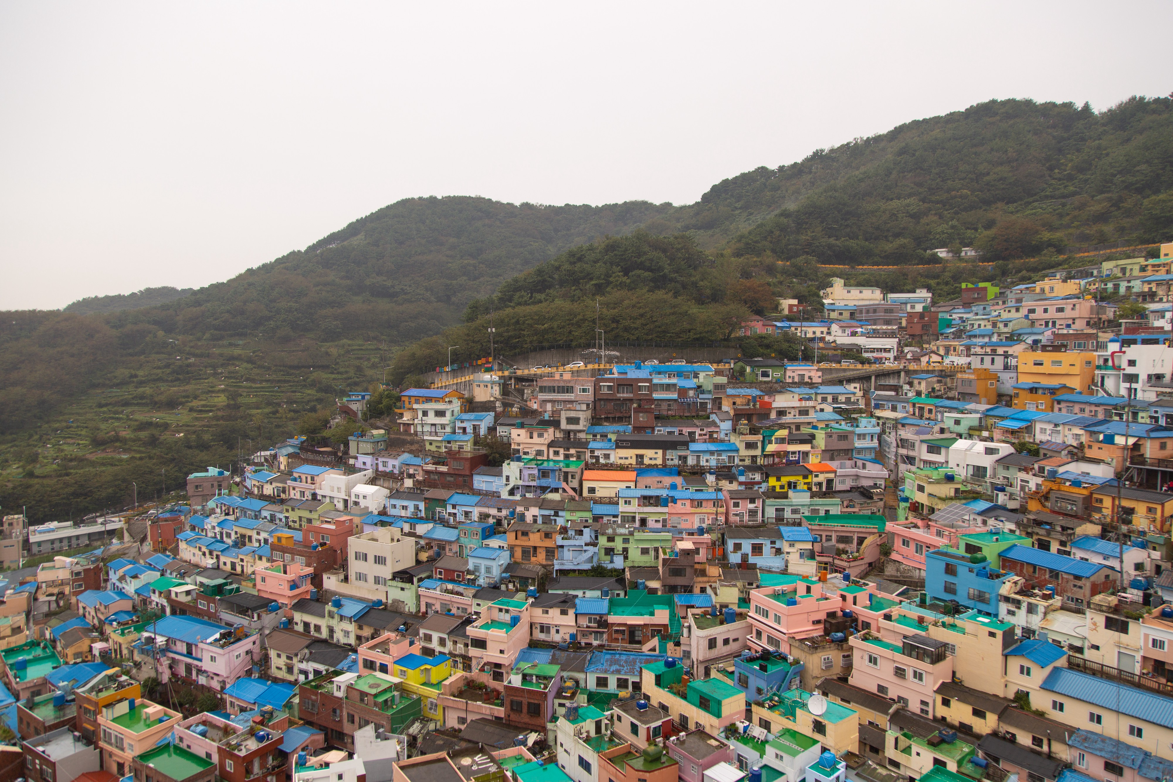 A city with colorful buildings.