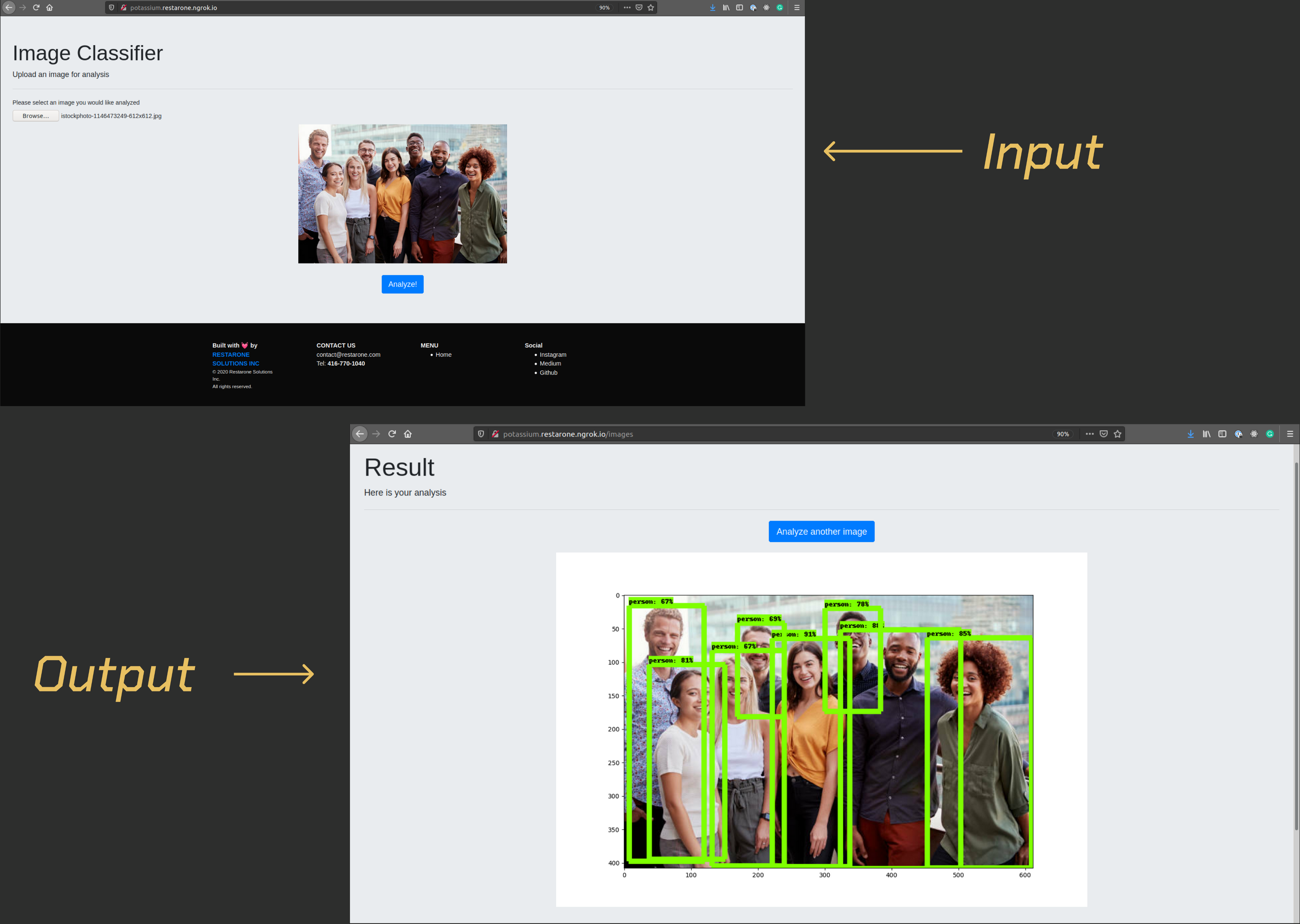 two photos, one of a group of people before the analyzer is run and one after showing rectangles around each person