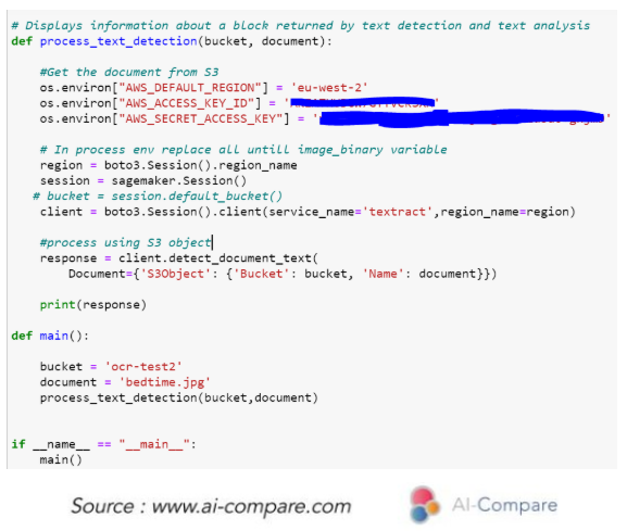 AI-Compare & Optical Character Recognition (OCR): Amazon Web Services