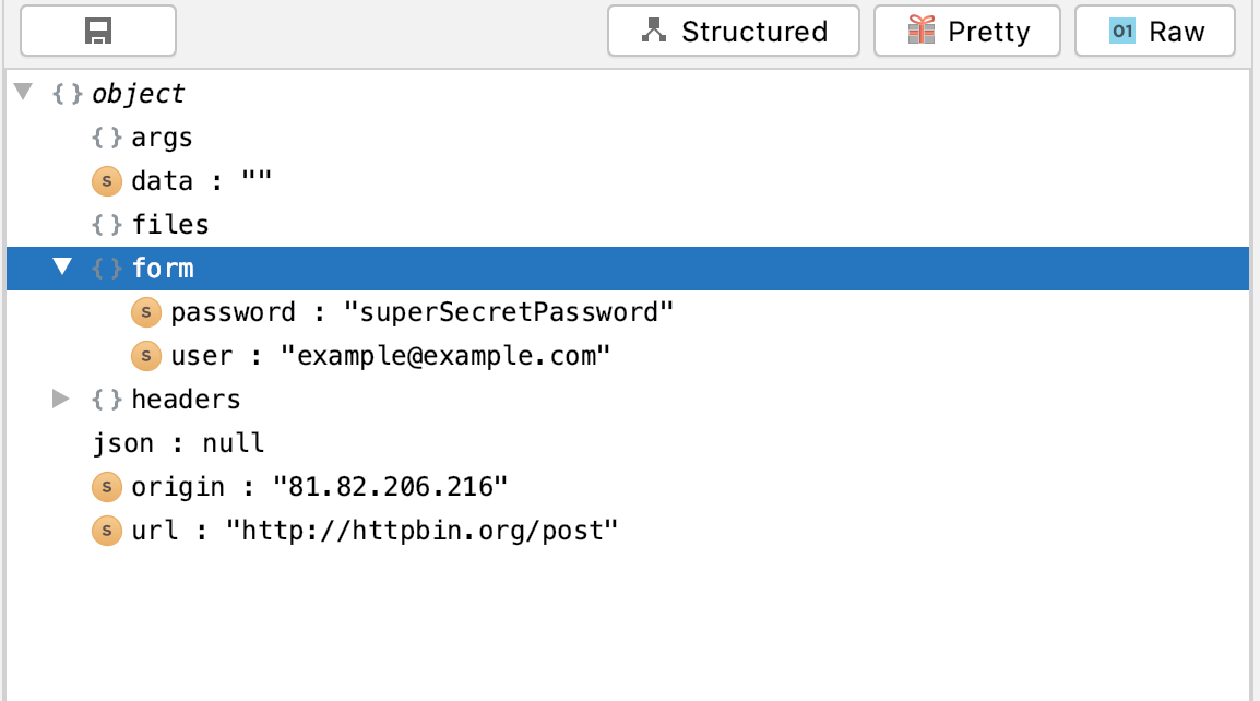 Screenshot of structured json in tree-view