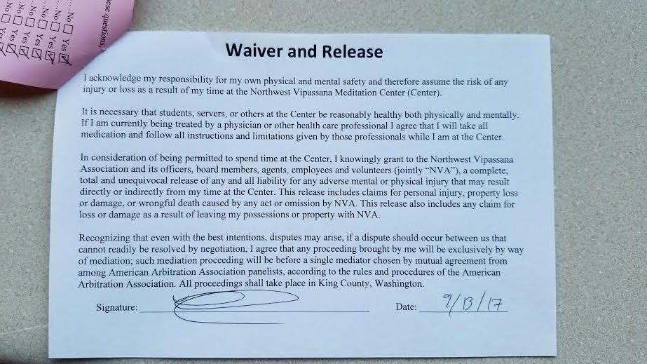 The waiver that you need to sign upon arrival - Photo Human Parts
