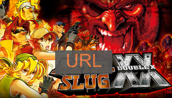 Lame parody of Metal Slug Double X poster with the word URL replacing the word Metal