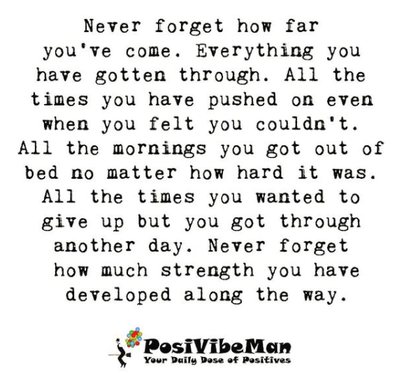 NEVER FORGET HOW FAR YOU HAVE COME