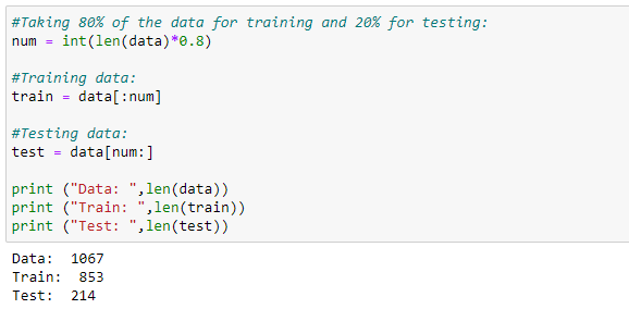 Figure 97: Dividing our data into test and training.