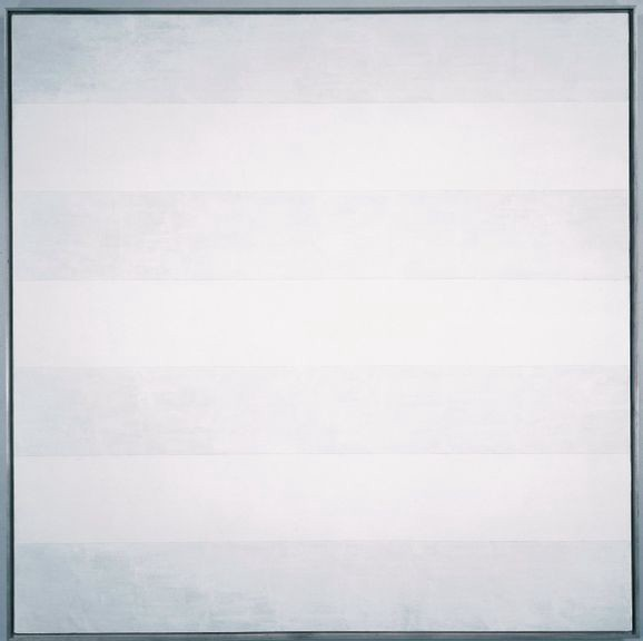 Abstract painting with thick horizontal stripes in light gray and white.