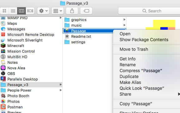 """Getting Jason Rohrer's """"Passage"""" working on MacOS Sierra and"""