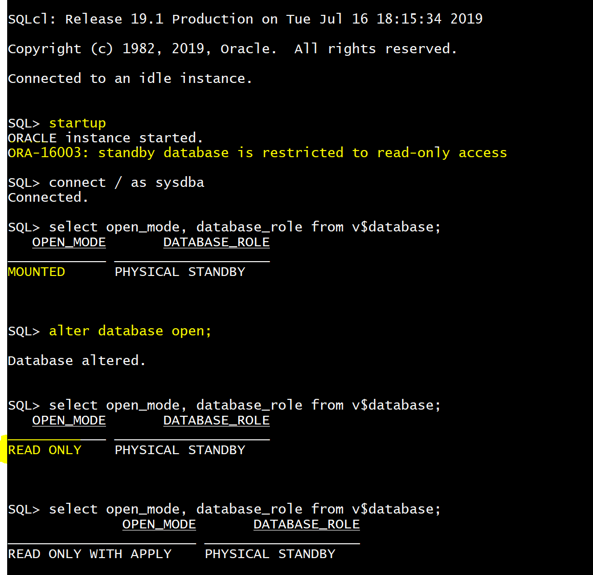 No risk to activate Active Data Guard by mistake with SQL