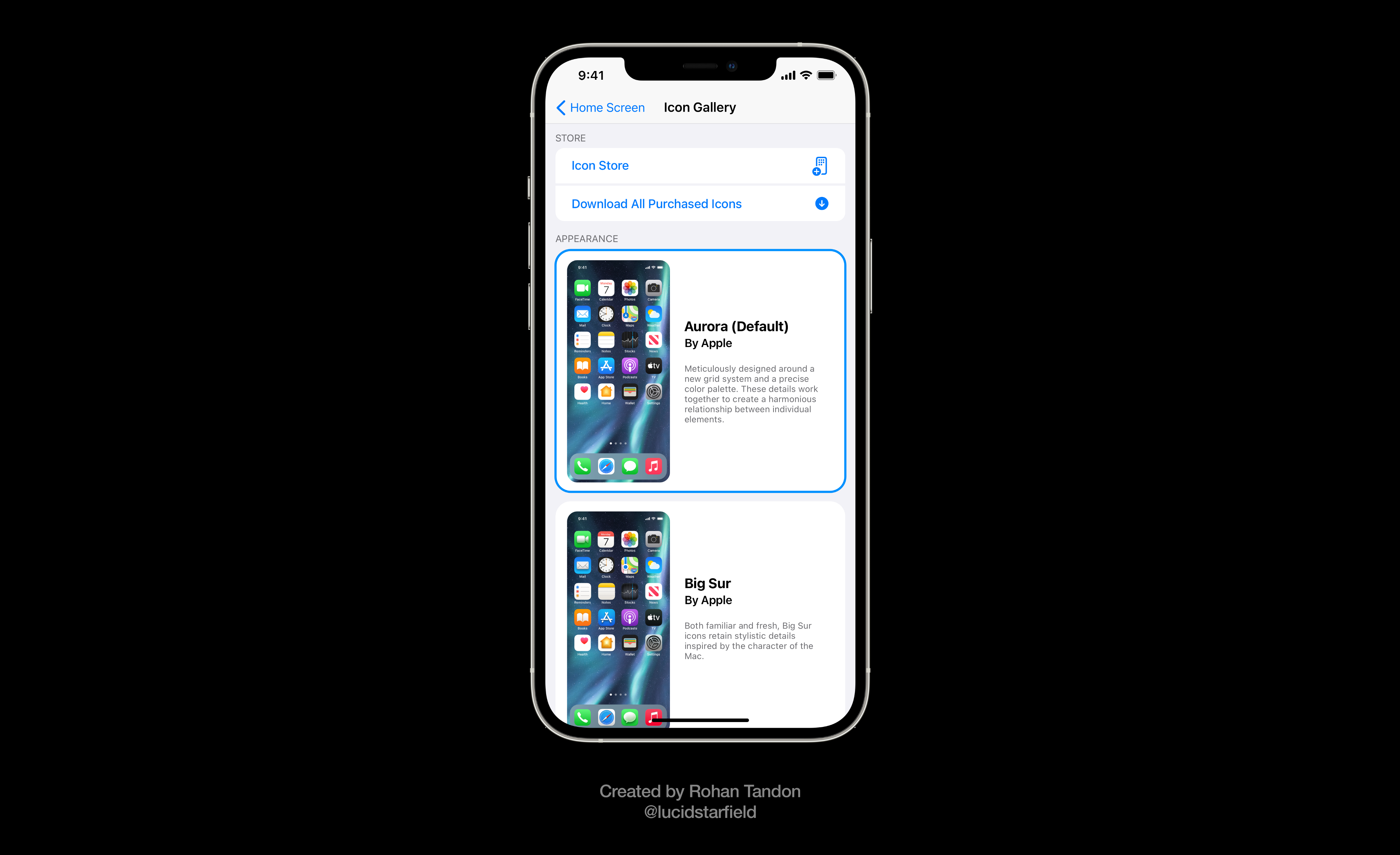 iOS 15 Aurora imagines Icon Gallery in the Settings to change app icons and download curated third-party icons from the App Store.