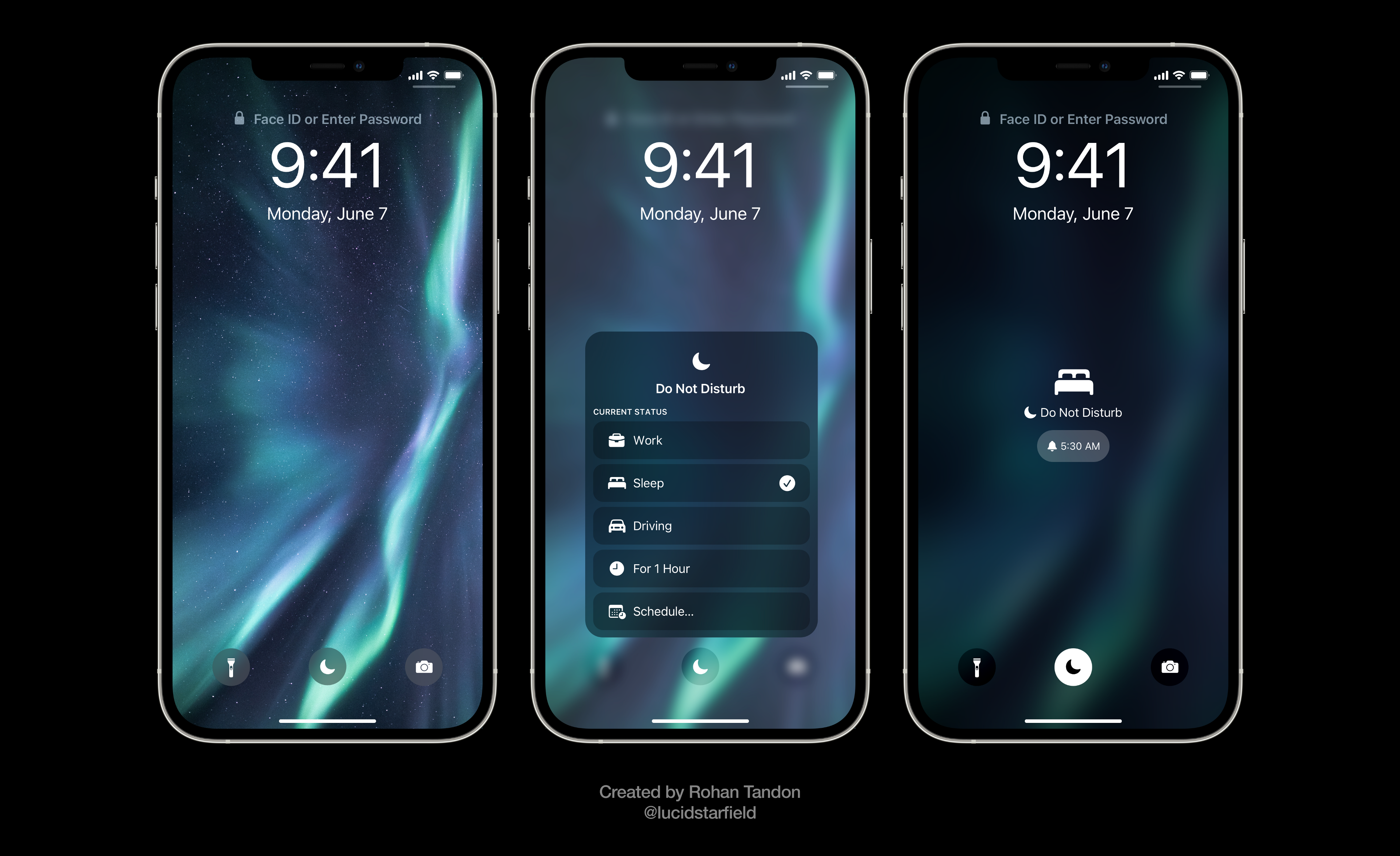 iOS 15 Aurora imagines a new feature that would allow users to set different notification preferences, depending on their current status.
