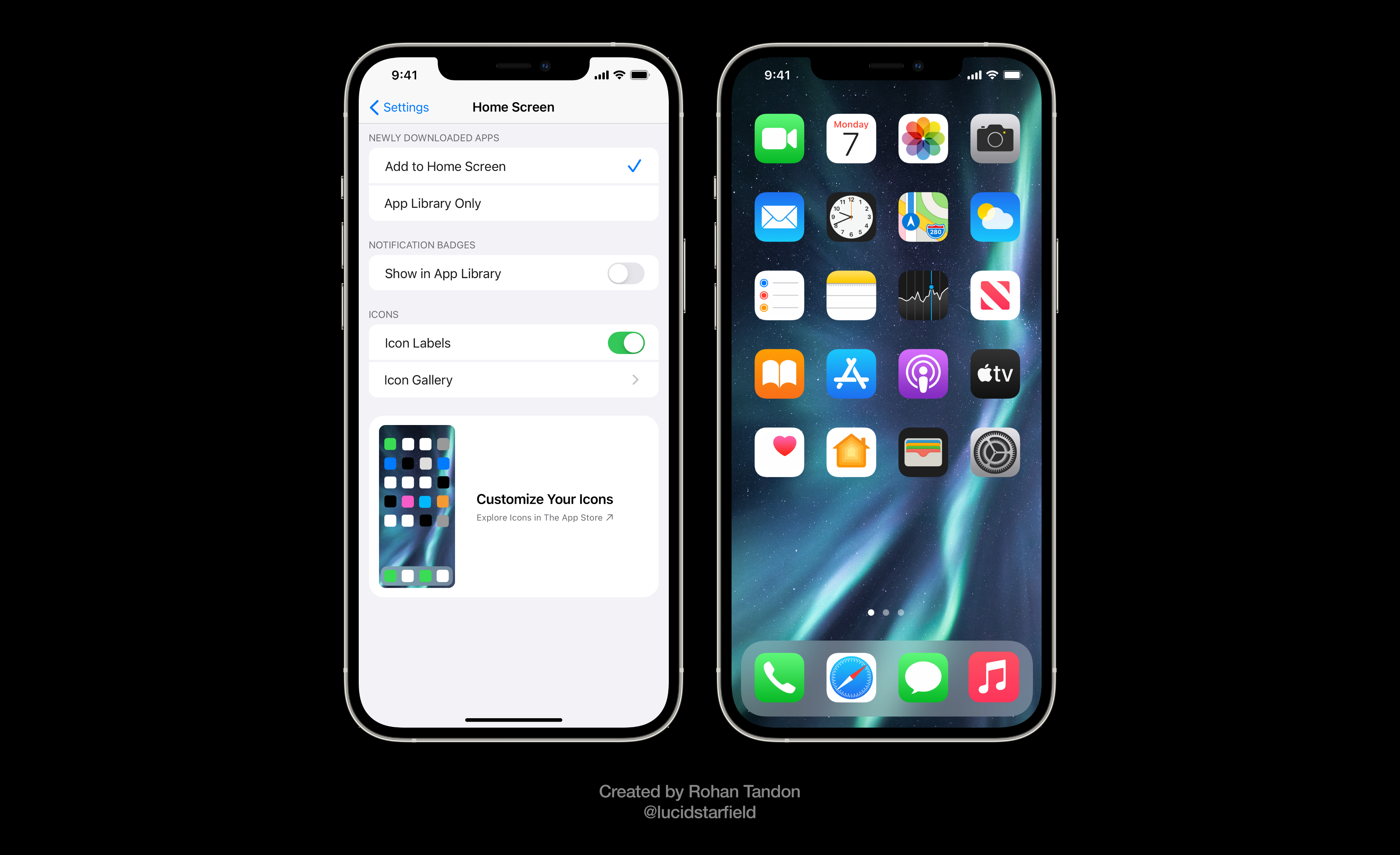 iOS 15 Aurora visualizes a new option to turn off Home Screen icon labels entirely