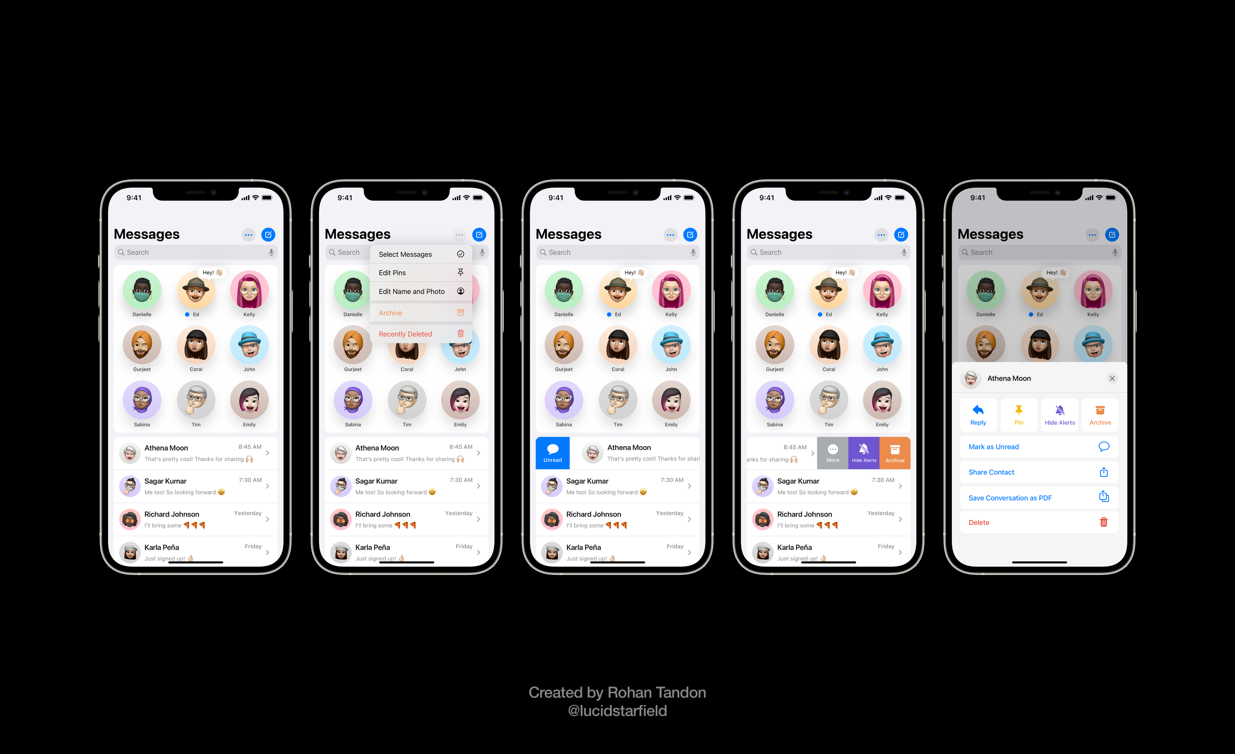 iOS 15 Aurora imagines the ability to archive messages, recover chat threads from a recently deleted folder, mark as unread, prominent compose/manage controls, and an all-new menu that also allows for saving conversation as PDF.