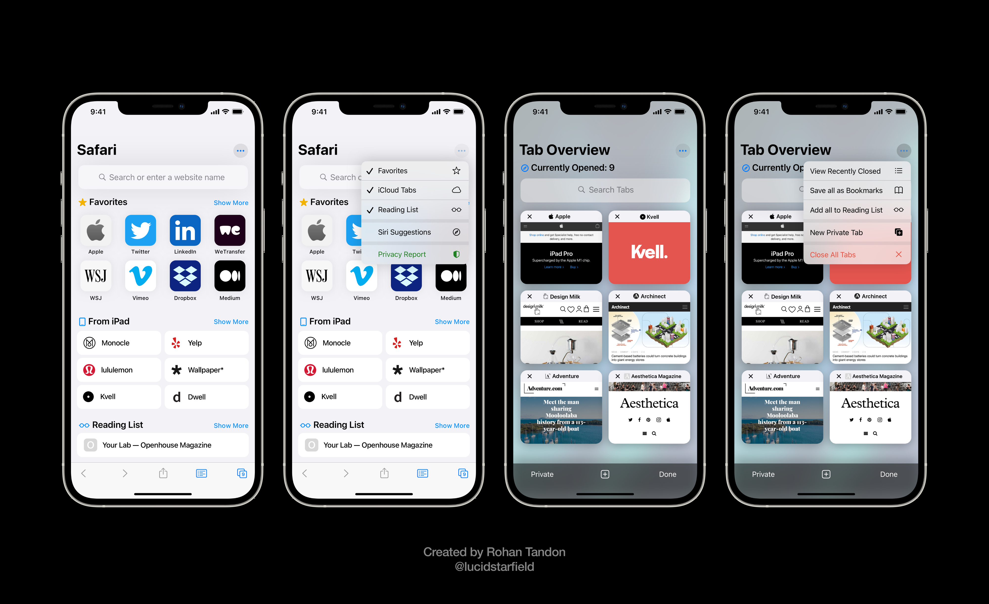 iOS 15 Aurora visualizes an all-new Safari with a coherent start page and birds-eye view for all open tabs.