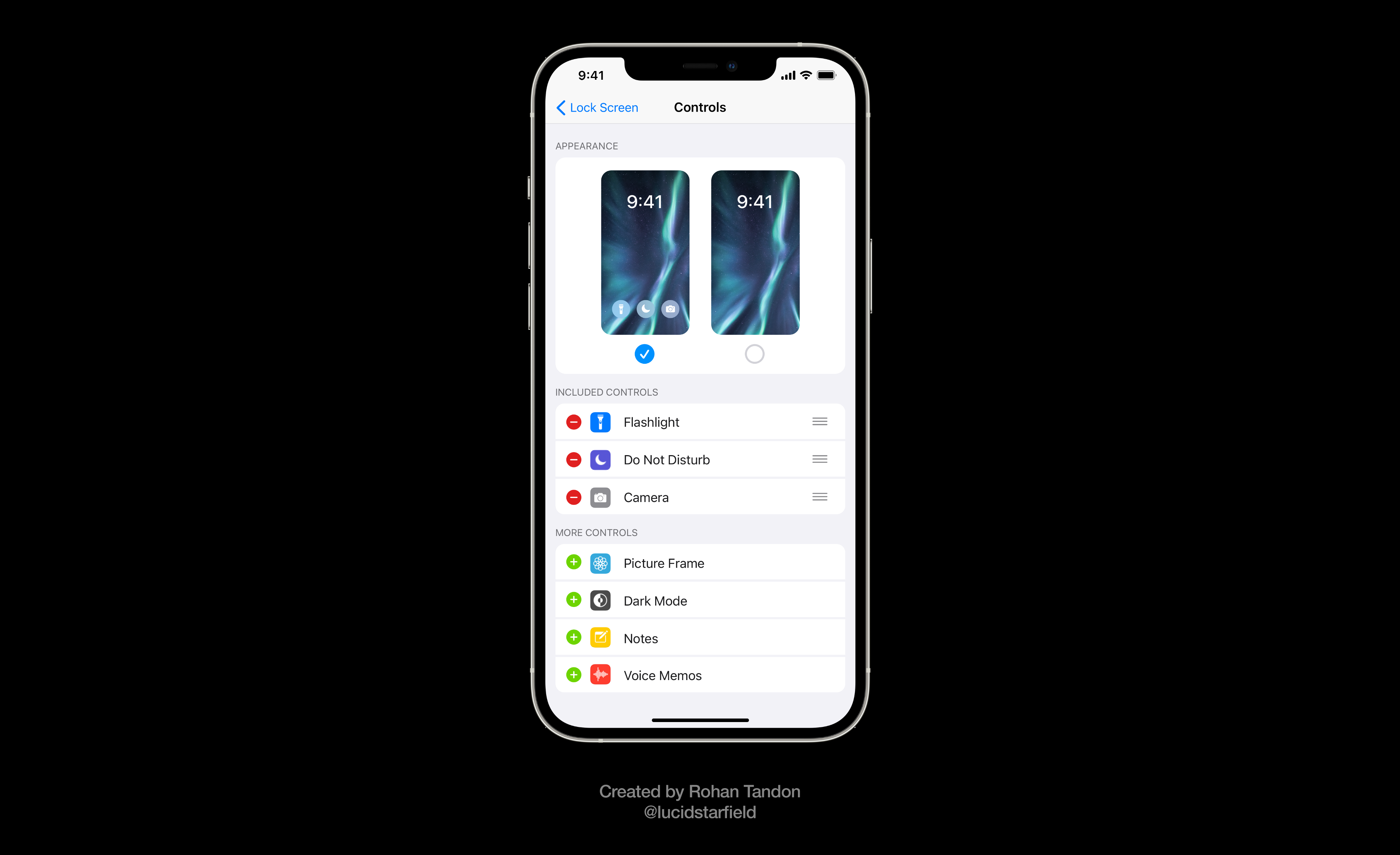 iOS 15 Aurora imagines a new page in the settings app that would allow users to swap the Lock Screen controls from a wide range of options.