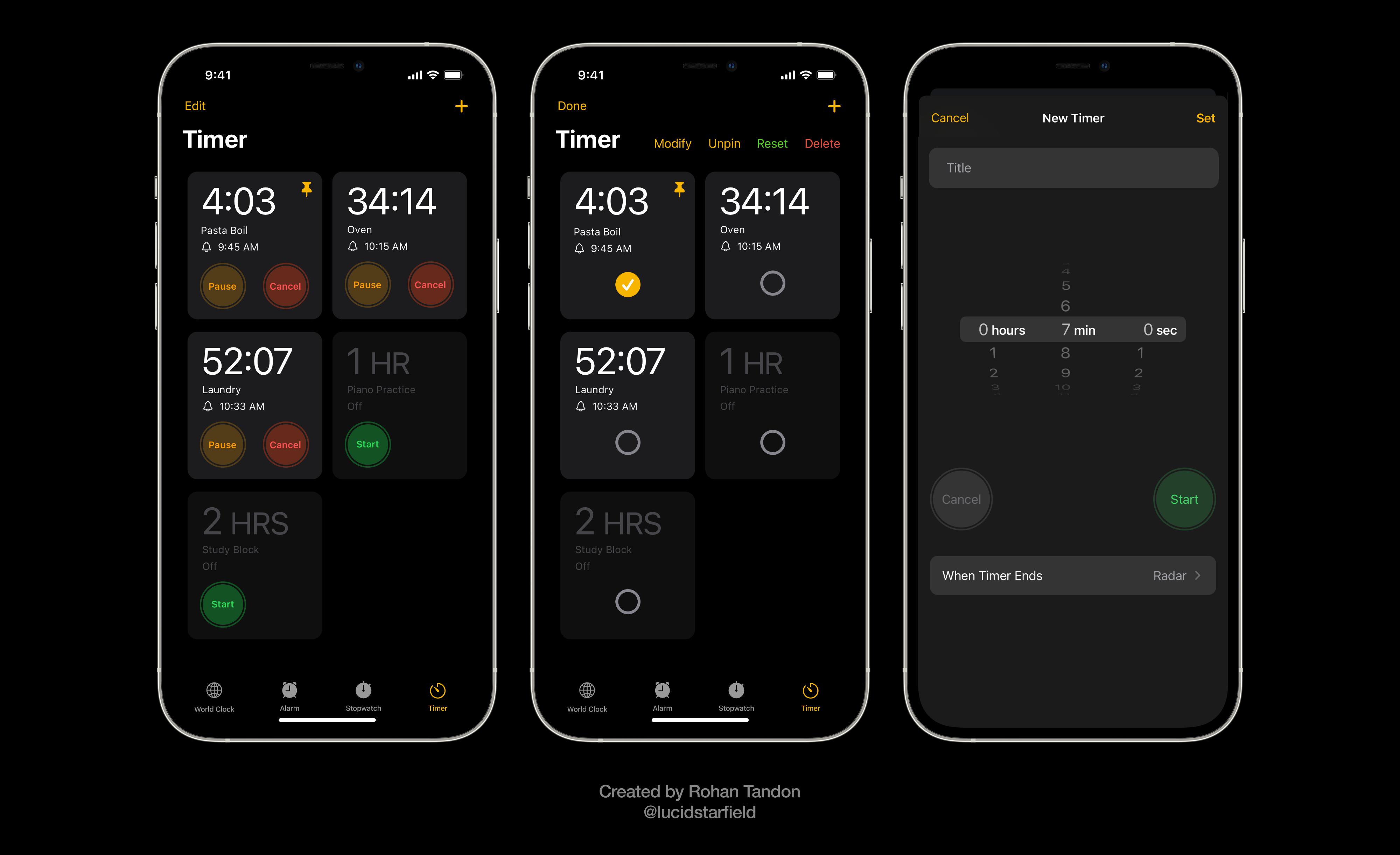 iOS 15 Aurora conceptualizes the ability to set more than one timer, pin, reset, and rename them.