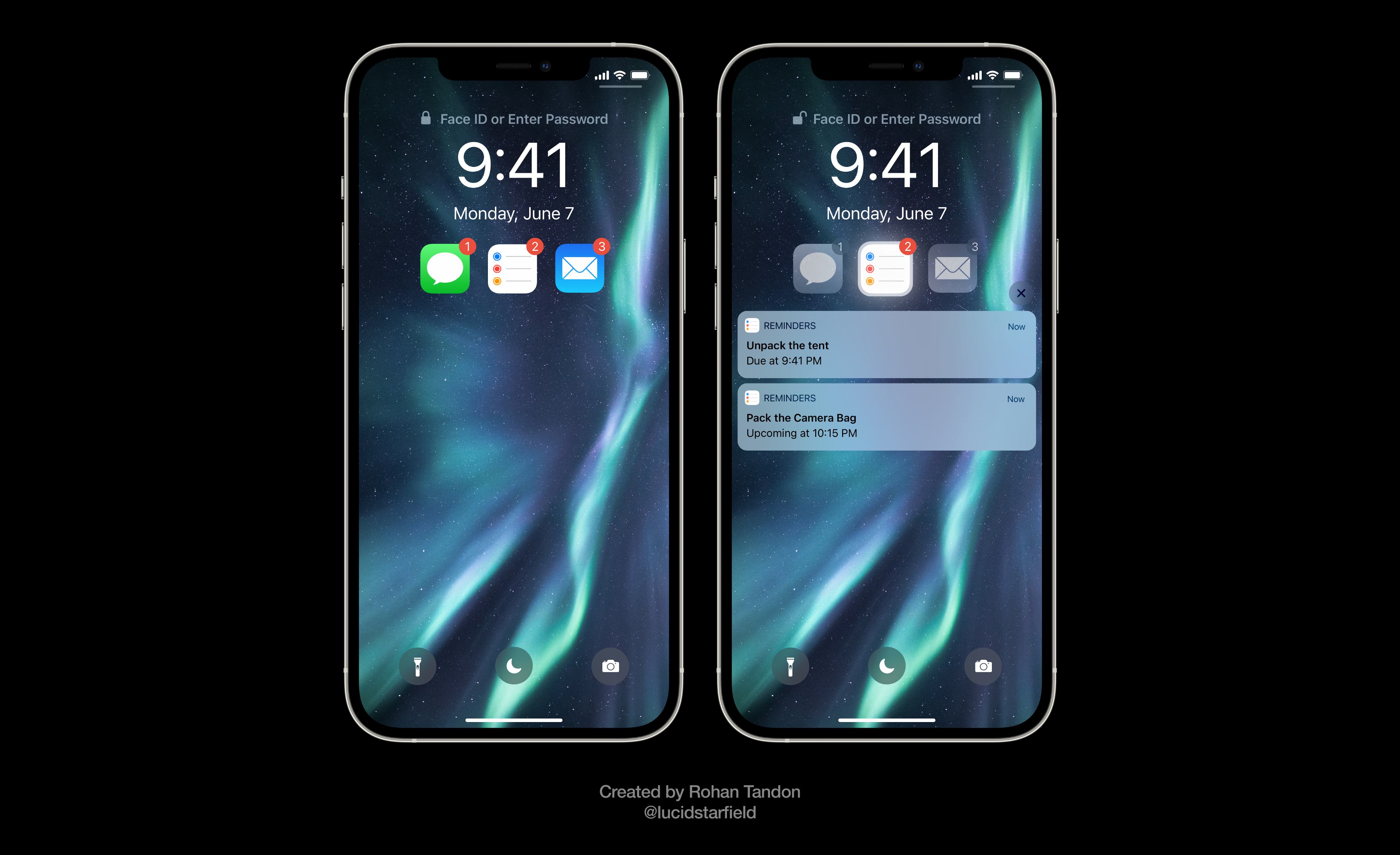 iOS 15 Aurora imagines organized notifications on the Lock Screen. It allows users to assess if they want to view notifications from a specific app, just by glancing at the app icon.