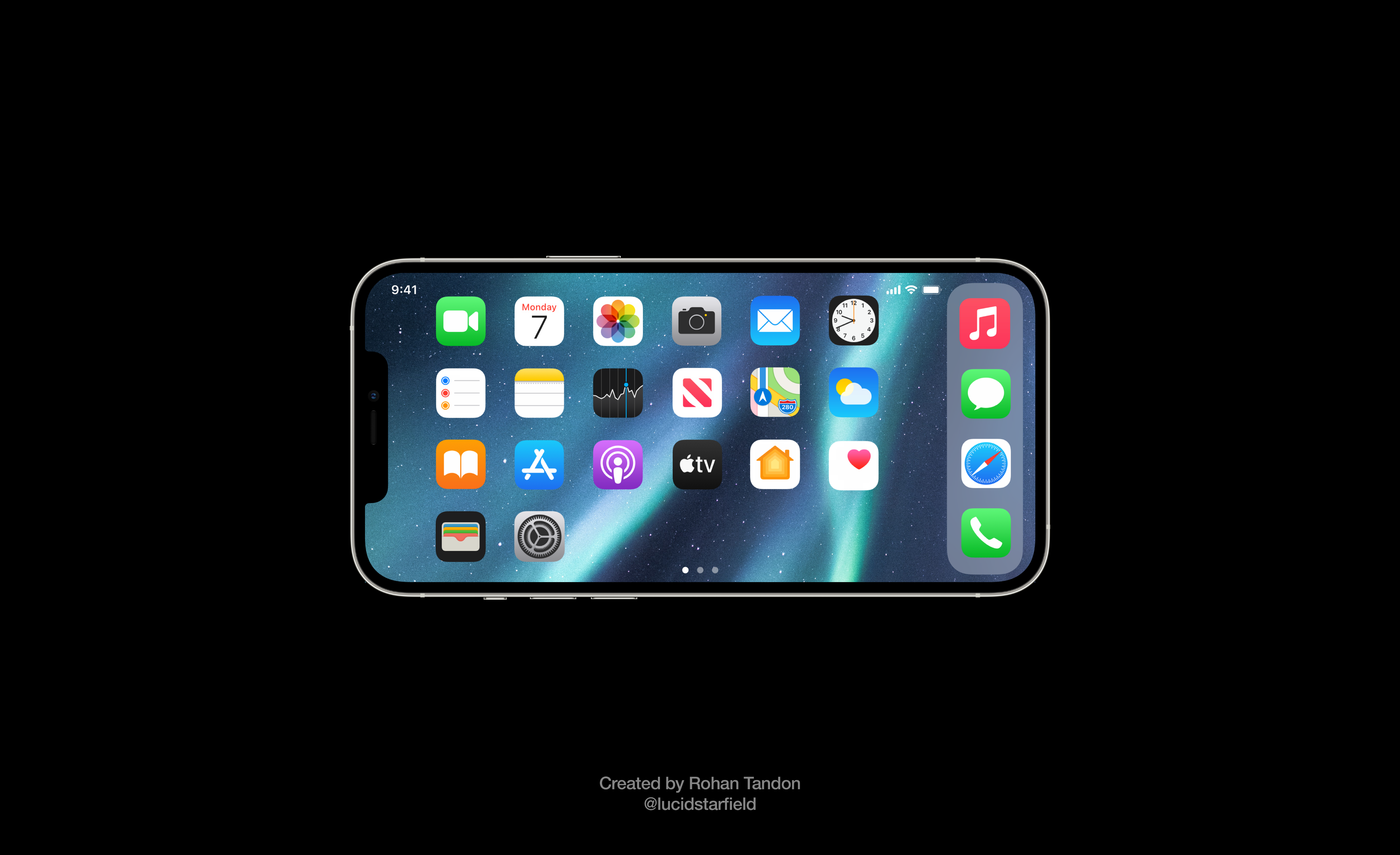 iOS 15 Aurora imagines a horizontal landscape Home Screen on the all-glass design.