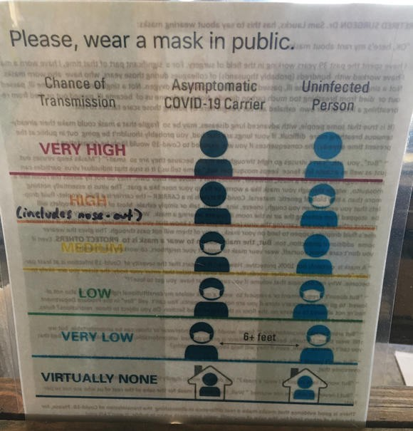 A mask notification in a winery in Traverse City, Michigan Photo by Keara Lou