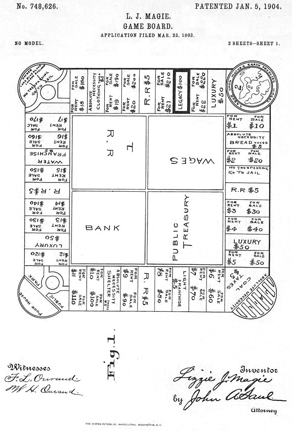 The original patent illustrator of the 'Landlords Game', that later became 'Monopoly'