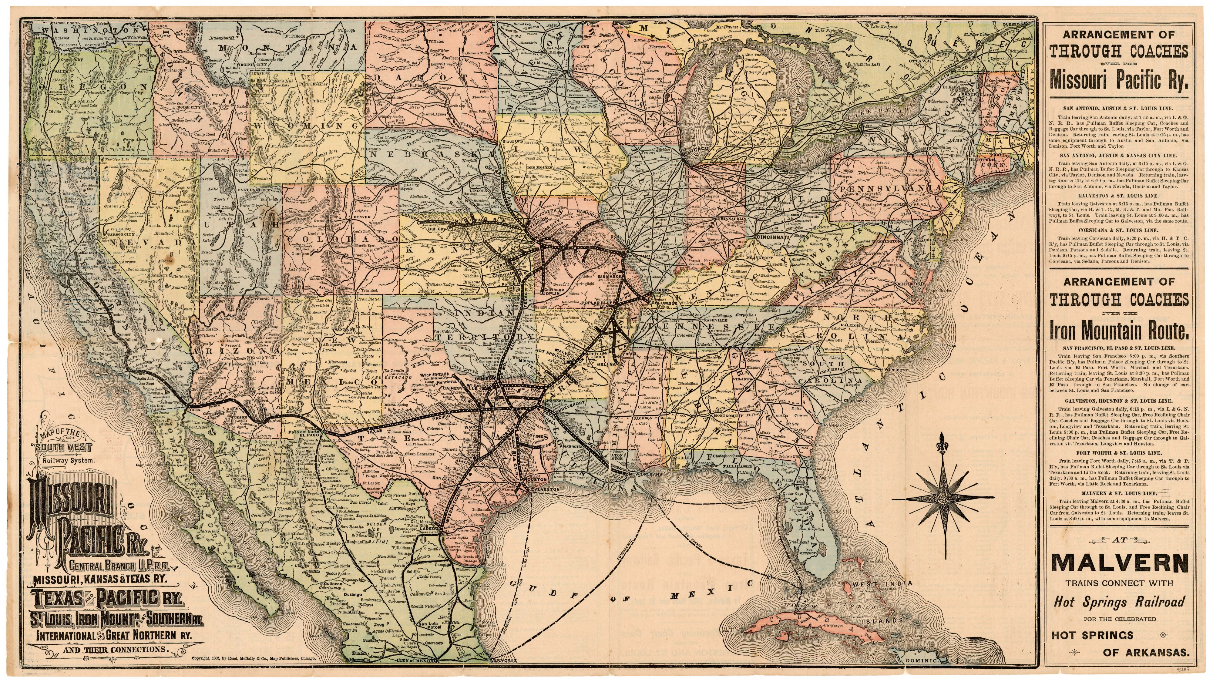 Map Of Texas Railroads.Map Of The Southwest Railway System 1883 Save Texas History Medium