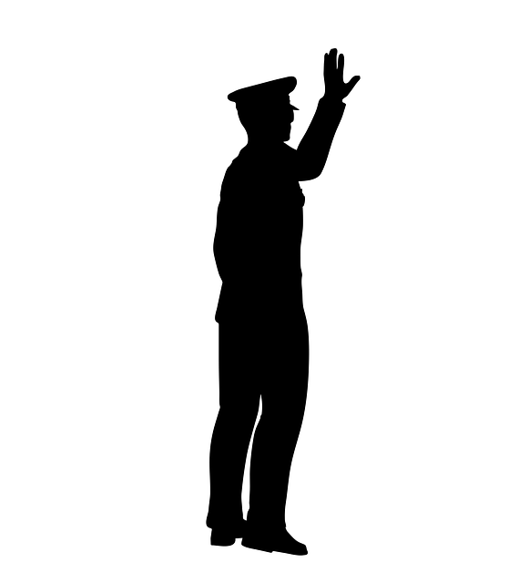 "Image of policeman ordering ""stop"""