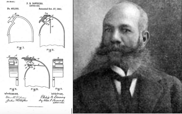 Schematic drawing of mailbox by Downing and photo of the inventor