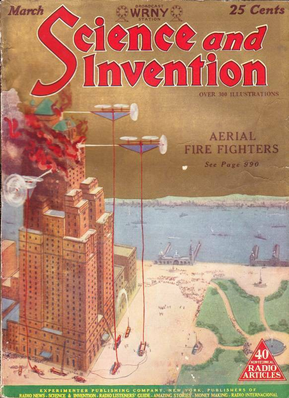 In this vintage magazine cover, aerial firefighting drones save a burning skyscraper.