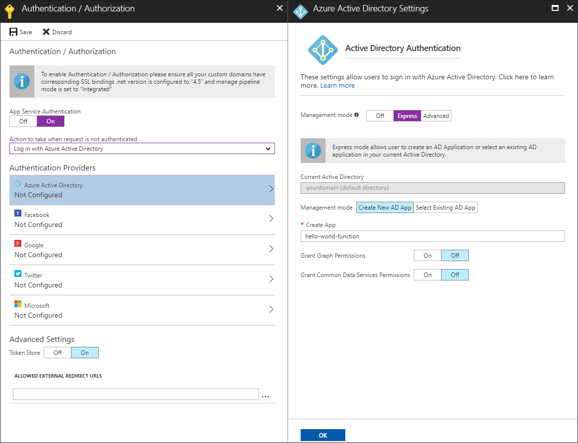 Azure function with Azure AD authentication — application