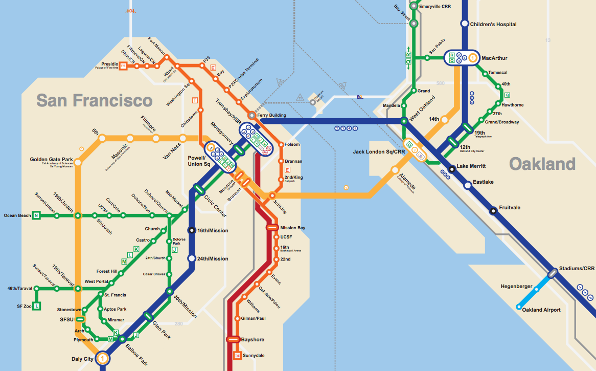 San Jose Subway Map.Bay Area 2050 The Bart Metro Map Future Travel