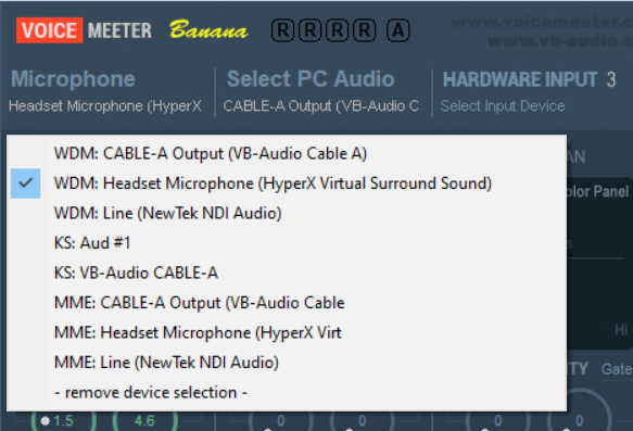 Screenshot of VoiceMeeter Banana showing how to select the headset as the device for the Microphone input