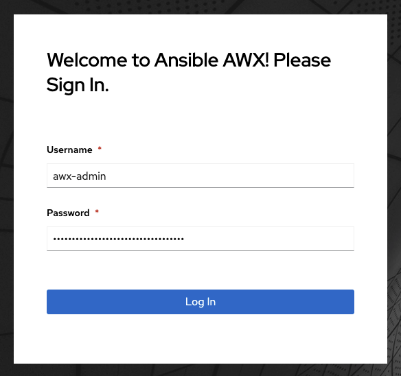 The AWX login screen