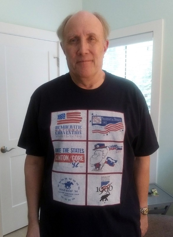 Dave wearing t-shirt with logos of 90s presidential campaigns.
