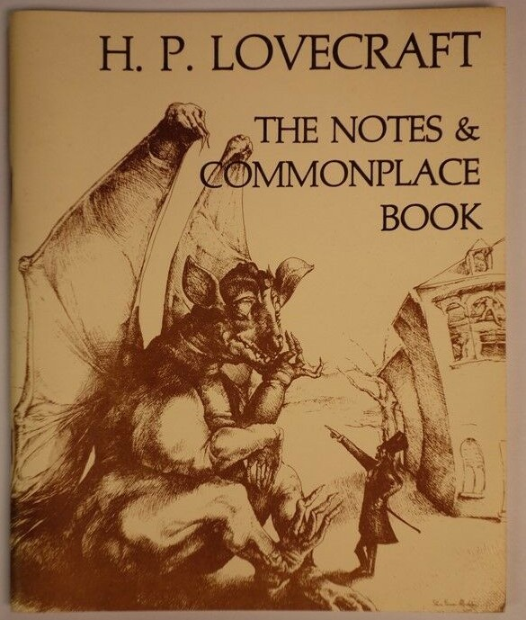 "The cover of ""The Notes & Commonplace Book"" by H.P. Lovecraft, with an image of a dragon."