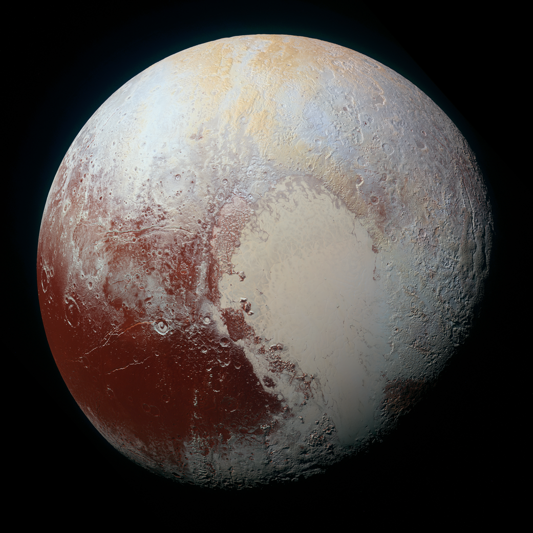 Color-enhanced global image mosaic of Pluto.