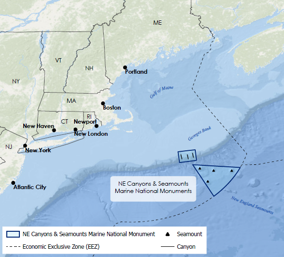 Map showing the location of Northeast Canyons and Seamounts Marine National Monument
