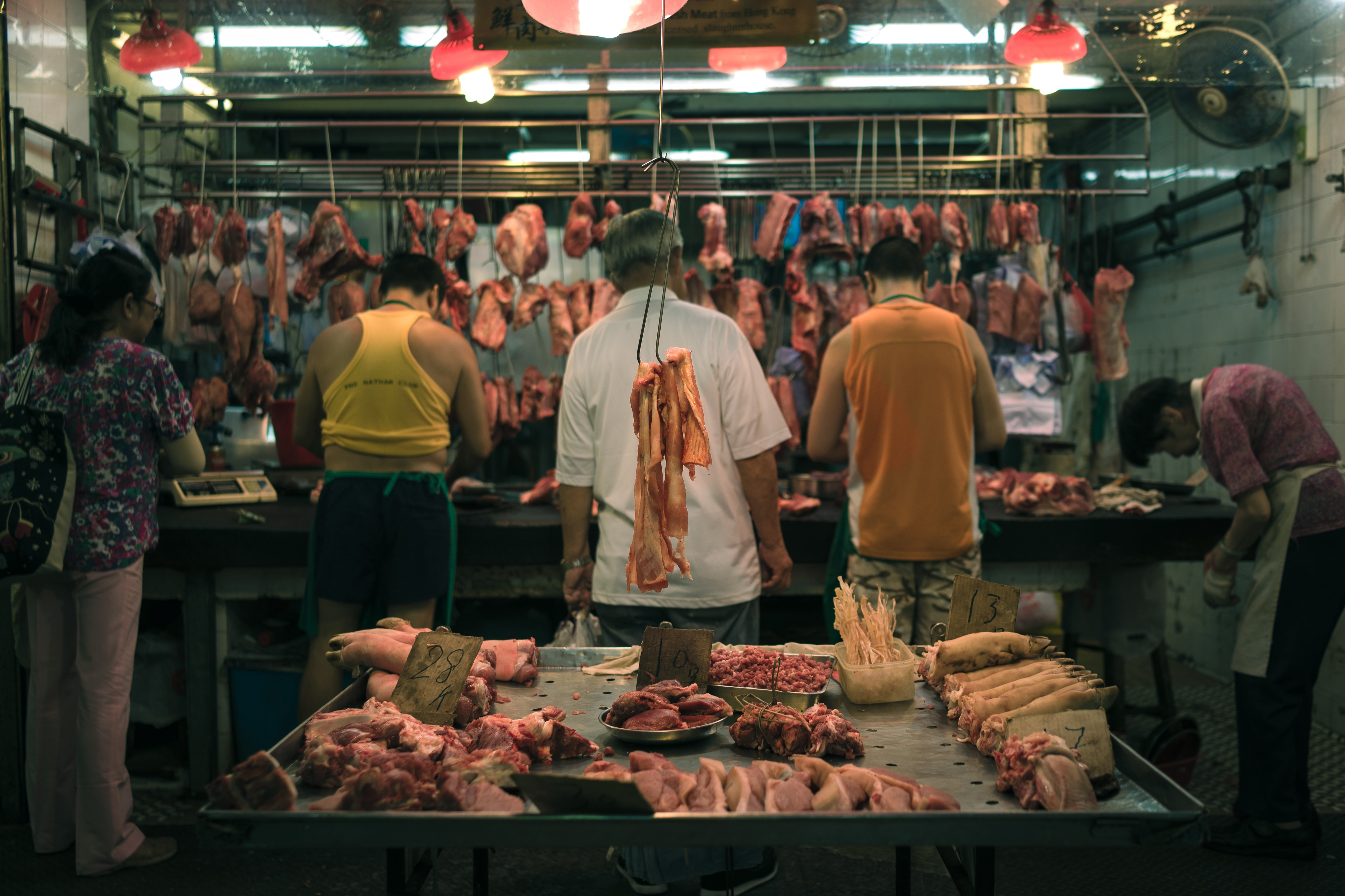 A meat market in asia