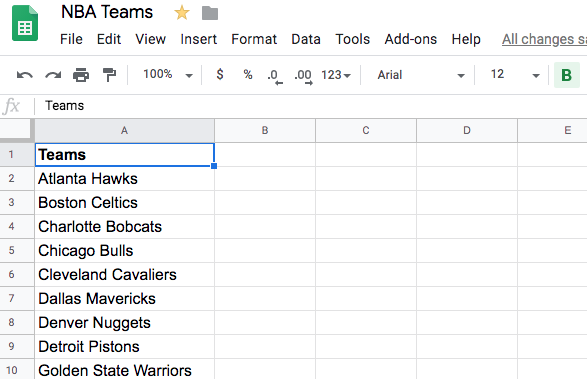 A listing of all 30 NBA teams, in a Google Sheet.