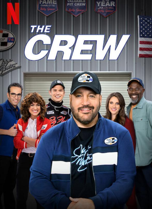 The title poster of The Crew. Kevin in the front and the other characters behind him in a NASCAR garage.