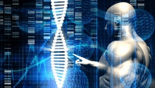 graphic of a luminous strand of DNA and a muscular human man to the right manipulating it on a computer interface of some kind