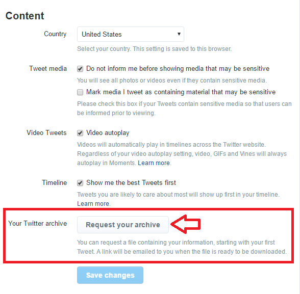 Click the button to request your Twitter archive be emailed to your account email address.