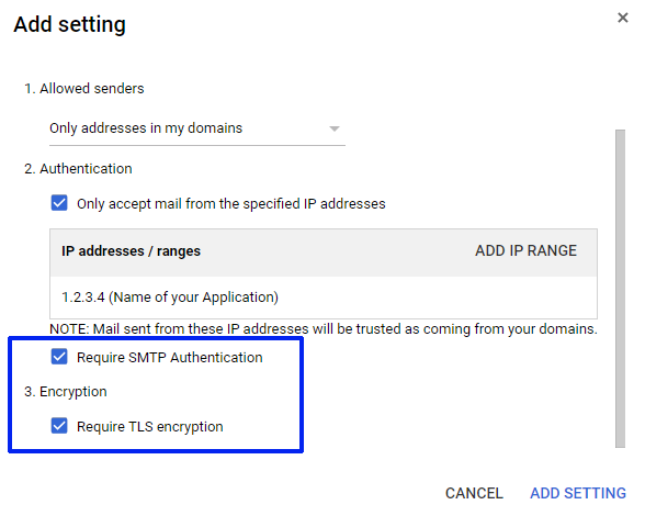 G Suite SMTP Relay configuration for GCP Private Compute