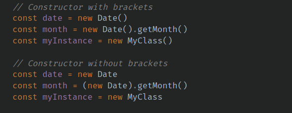 onstructor brackets are optional