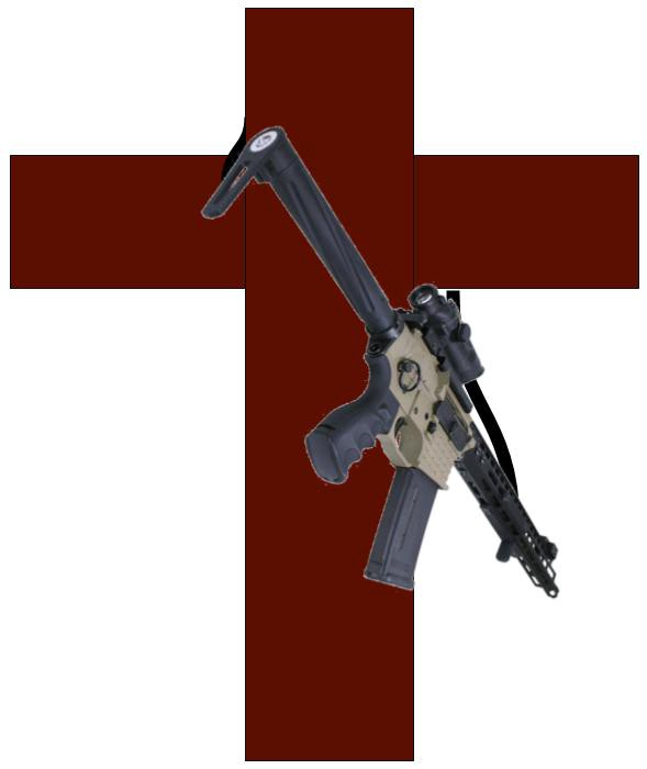 A dark cross with an AR-15 strapped to its side