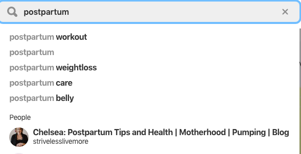 Topics about postpartum that come up in a Pinterest search: Postpartum body, postpartum weight loss and postpartum workouts.