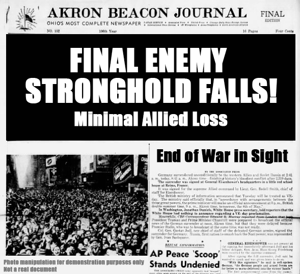 Newspaper headline proclaiming Final Enemy Stronghold Falls