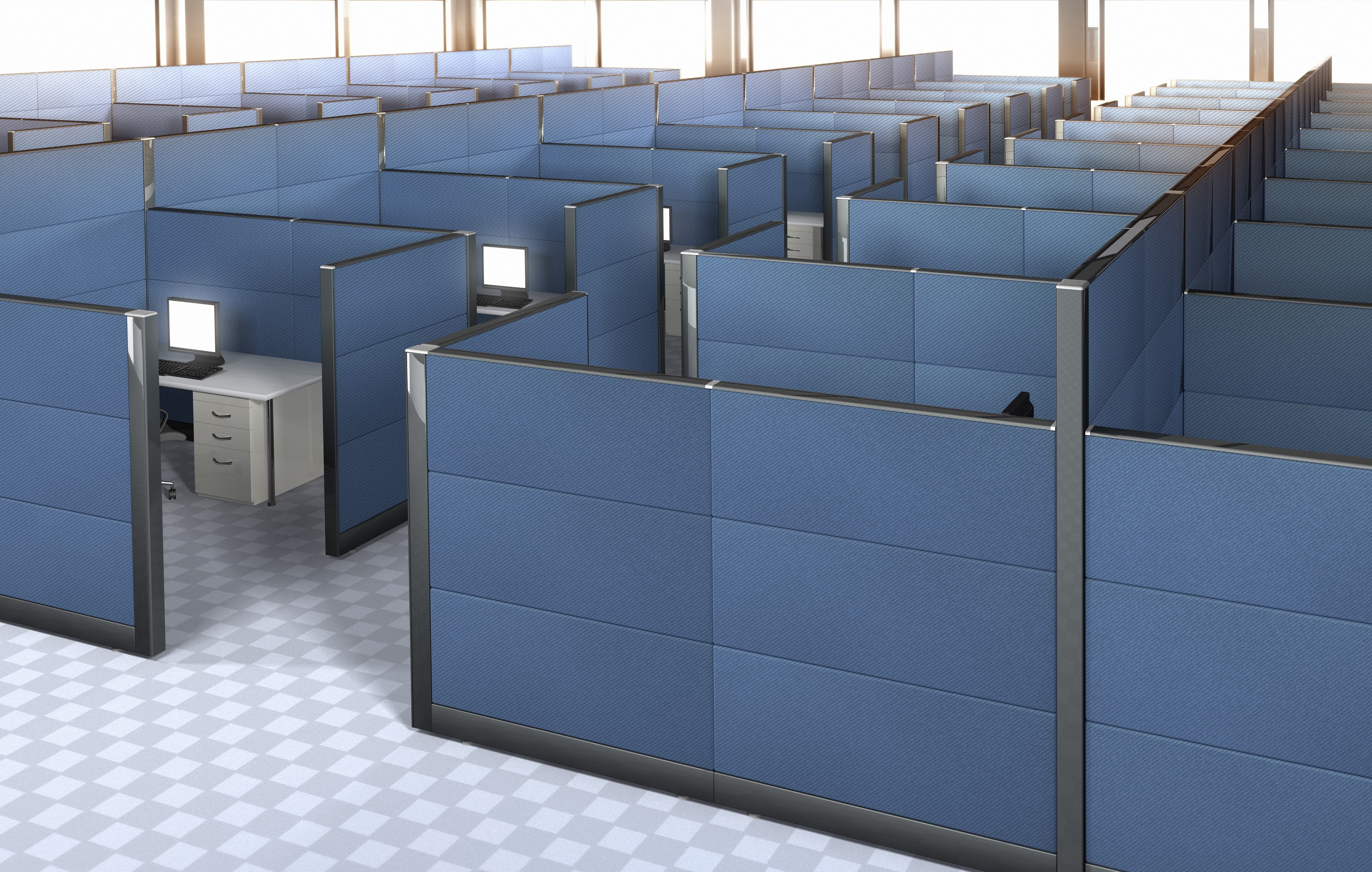 36 identical cubes (4x9) with desk, monitor, file cabinet and steel-blue separators