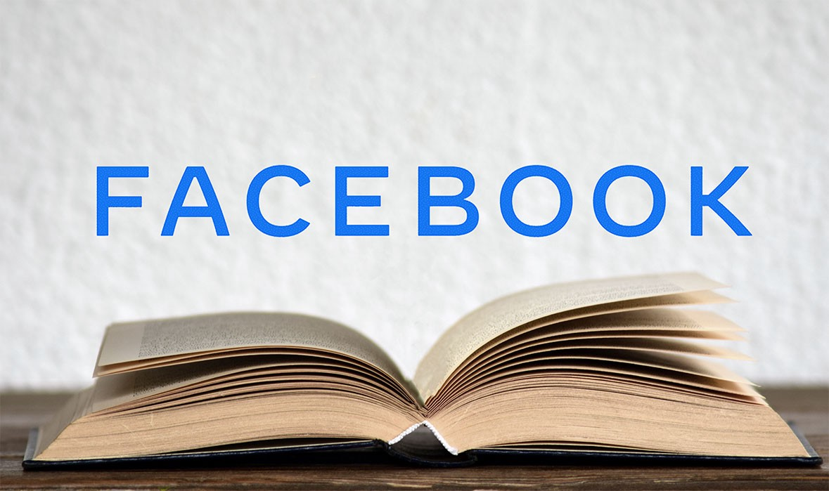 Facebook rebranded logo analogy with book