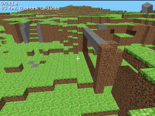 A screenshot of the first version of minecraft