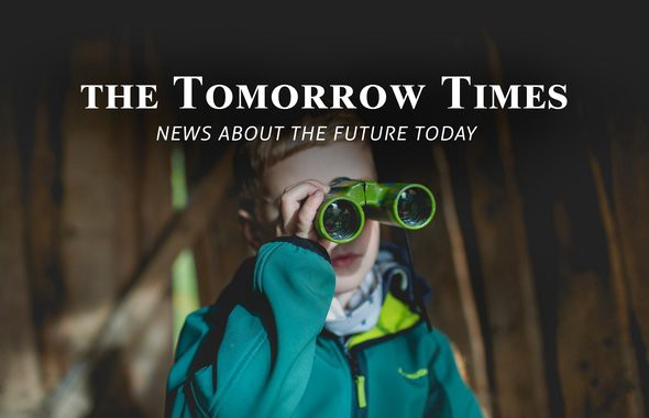 "Boy watching over with his binoculars, with a writing ""The Tomorrow Times: News about the future today"""