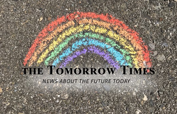 "A charcoal drawing of a rainbow, with a writing ""The Tomorrow Times: News about the future today"""