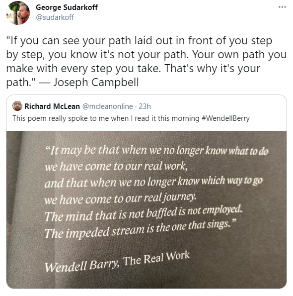 A picture of two tweets with quotes from Joseph Campbell and Wendell Berry